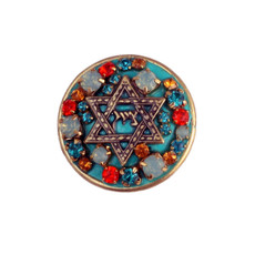 Teal And Orange Crystal Star Of David