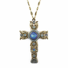 Large Blue and Gold Cross Necklace