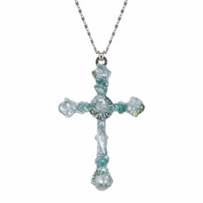 Large Aqua Cross Necklace