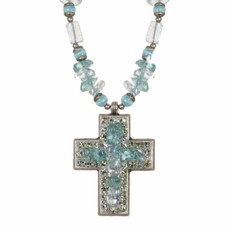 Medium Aqua Cross Necklace