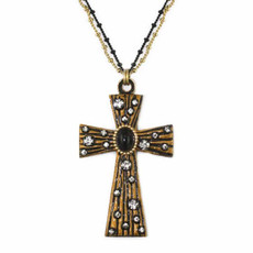 Large Black and White Cross Necklace