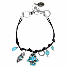 Michal Golan Gray and Turquoise Hamsa Bracelet