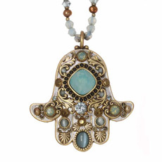 Green Michal Golan Jewelry Hamsa Necklace