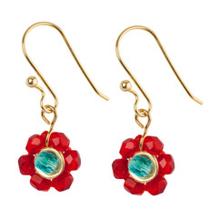 Orna Lalo Red Flower Earrings