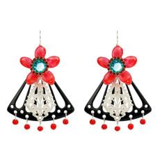 Orna Lalo Pink Decorative Flower Earrings