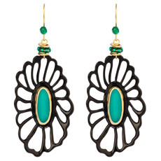 Orna Lalo Black Flower with Teal Center Earrings