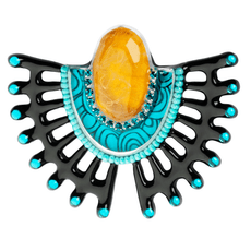 Orna Lalo Decorative Teal Brooch