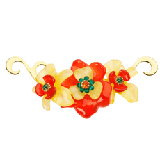 Orna Lalo Orange and Yellow Blossom Brooch