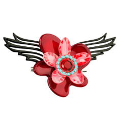 Orna Lalo Red Blossom Brooch