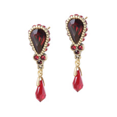 Michal Negrin Red Crystal Drop Earrings