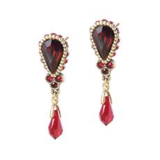 Michal Negrin Red Crystal Drop Earrings
