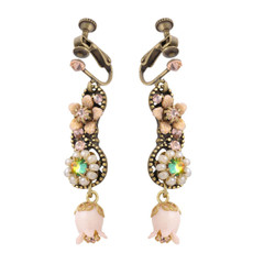 Negrin Pink Rose Clip-on Earrings