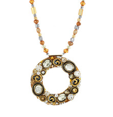 Michal Golan Earth Orange Large Open Circle Necklace