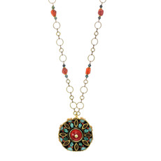 Michal Golan Jewelry Large Round Pendant Teal Necklace