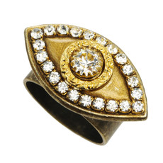 Michal Golan Evil Eye with Crystal Center Ring