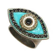Michal Golan Ring Evil Eye with Black Center