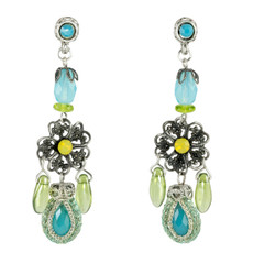 Blue and Green Dream Fashion Net earrings from Anat Jewelry