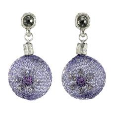 Anat Collection Purple Flower Fashion Net Earrings