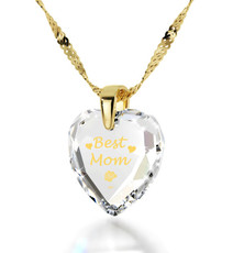 Inspirational Jewelry Best Mom Heart Clear Necklace