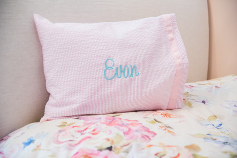 Mint Travel Pillow | Pink Seersucker
