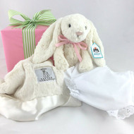 Olive and Tate Baby Bundle | Jellycat Bunny, Little Giraffe Lovey, and Diaper Cover