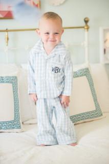Monogrammed Blue Gingham Pajamas(12-18 Months)
