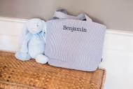 Personalized Seersucker Bag + Large Blue Jellycat Bunny