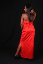 Red Satin Strapless Evening Gown