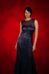 Satin Navy Blue Evening Dress
