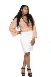 2pc wrap shirt with pencil skirt