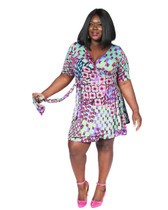 Fuschia pink,lime green multi print ambassador swing dress