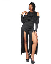Black Cold shoulder jumpsuit with front leg slits