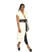 Cream faux wrap midi vest with black belt