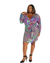 Purple, green multi Ambassador faux wrap dress long sleeves.