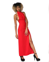 Red halter style gown