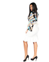 2pc multi color wrap shirt with tulip bottom skirt