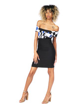 Black and multi top boss lady dress