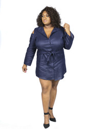 Navy blue boyfriend shirt dress