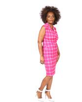 Fuschia pink and white box print ambassasdor dress