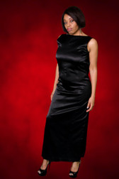 Black Satin Sleeveless Evening Gown