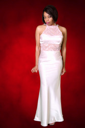 Pink Crepe Back Satin Evening Gown