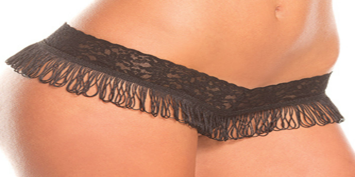 Be Wicked Lingerie Black Lace Thong with Fringe