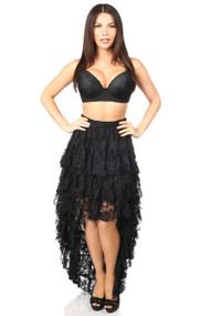 Long High Low Lace Skirt by Daisy Corsets-Black