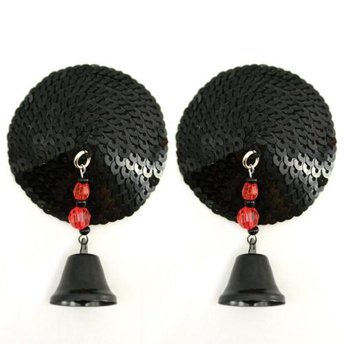 Round Pasties with Beads by Bijoux de Nip-Black Sequins
