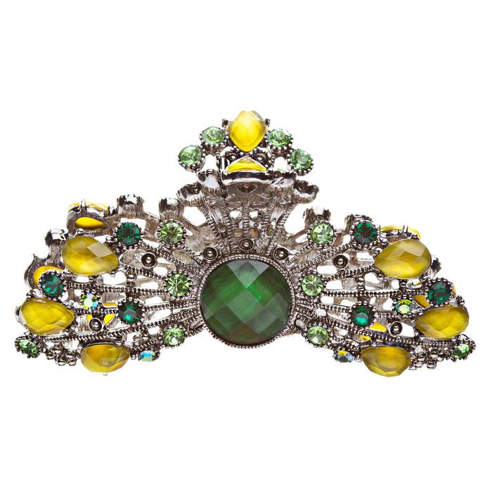 Austrian Crystal Hair Claw Clip Yellow Green