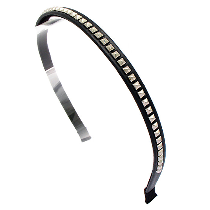 Square Silver Studded Leatherette Black Headband