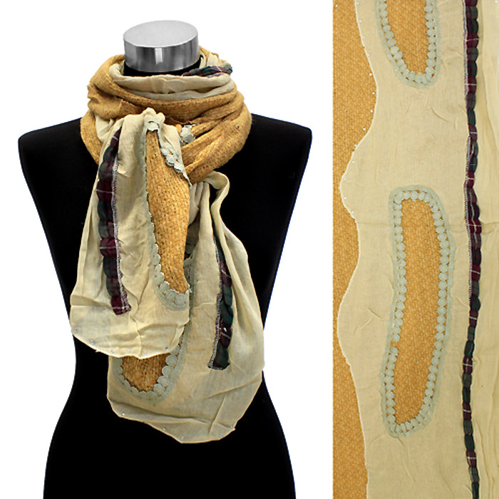 Bean Motif Hand Crafted Fashion Design Scarf Yellow