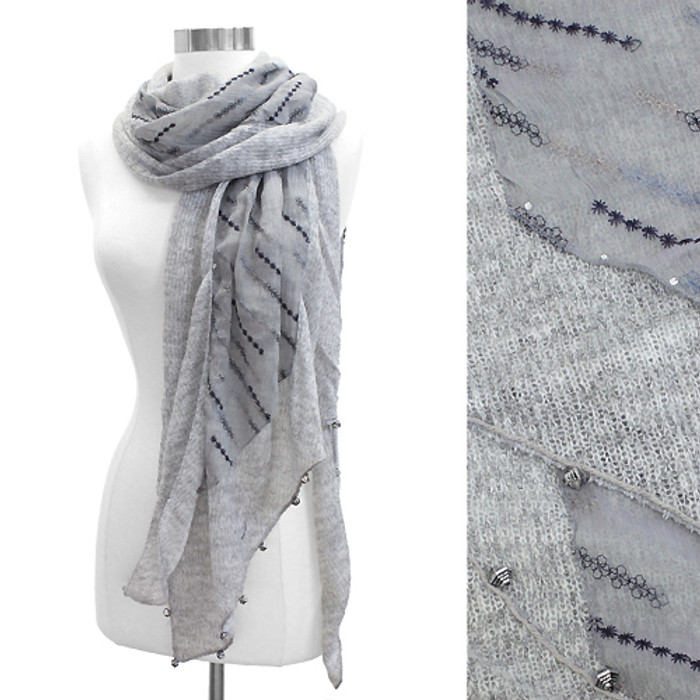 Double Layered Handmade Crafted Fashion Scarf Gray
