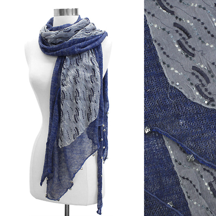 Double Layered Handmade Crafted Fashion Scarf Navy Blue
