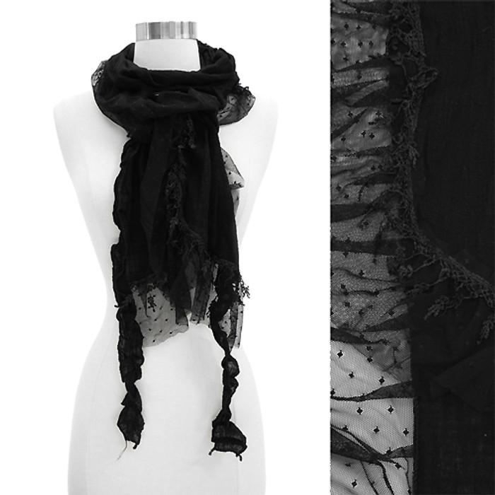 Sheer Lace Frilled Edged Soft Fashion Scarf Black